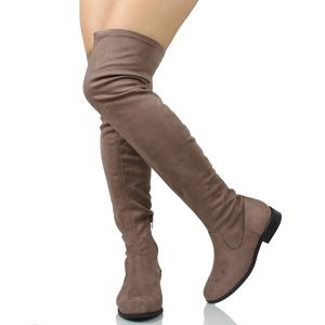 Shoes - Taupe Faux Suede Over The Knee Low Heel Boot